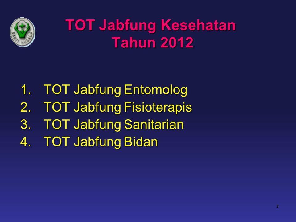 TOT Jabfung Kesehatan Tahun 2012 1. TOT Jabfung Entomolog 2. TOT Jabfung Fisioterapis 3. TOT Jabfung Sanitarian 4. TOT Jabfung Bidan 3