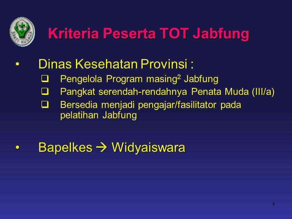 Kriteria Peserta TOT Jabfung Dinas Kesehatan Provinsi : Dinas Kesehatan Provinsi :  Pengelola Program masing 2 Jabfung  Pangkat serendah-rendahnya P