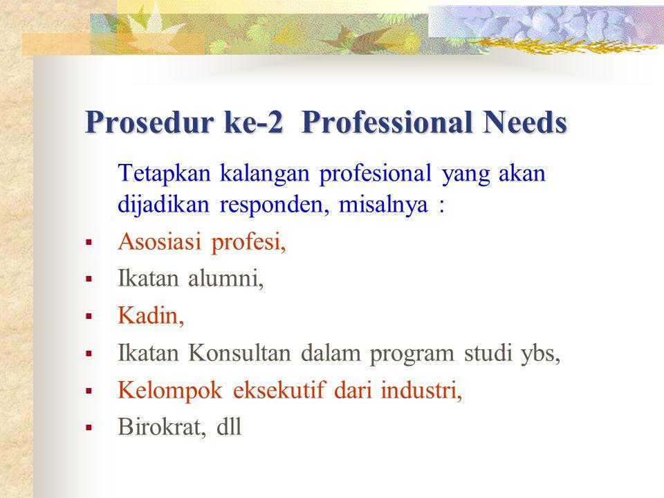 Prosedur ke-2 Professional Needs Tetapkan kalangan profesional yang akan dijadikan responden, misalnya :  Asosiasi profesi,  Ikatan alumni,  Kadin,  Ikatan Konsultan dalam program studi ybs,  Kelompok eksekutif dari industri,  Birokrat, dll