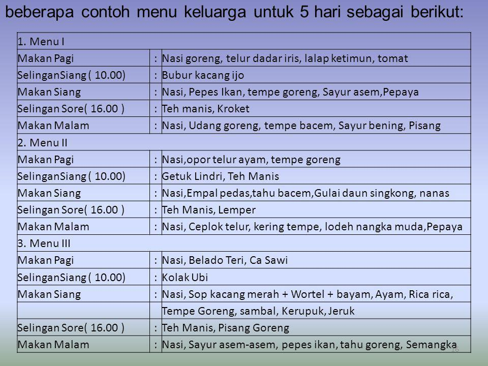 beberapa contoh menu keluarga untuk 5 hari sebagai berikut: 1. Menu I Makan Pagi:Nasi goreng, telur dadar iris, lalap ketimun, tomat SelinganSiang ( 1