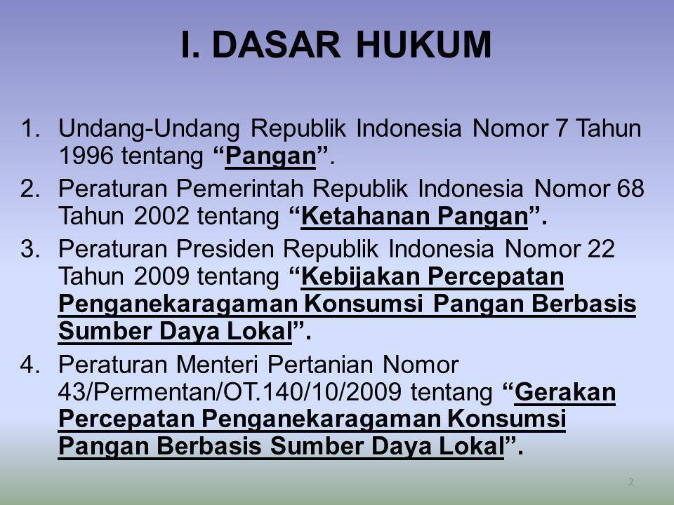 """I. DASAR HUKUM 1.Undang-Undang Republik Indonesia Nomor 7 Tahun 1996 tentang """"Pangan"""". 2.Peraturan Pemerintah Republik Indonesia Nomor 68 Tahun 2002 t"""