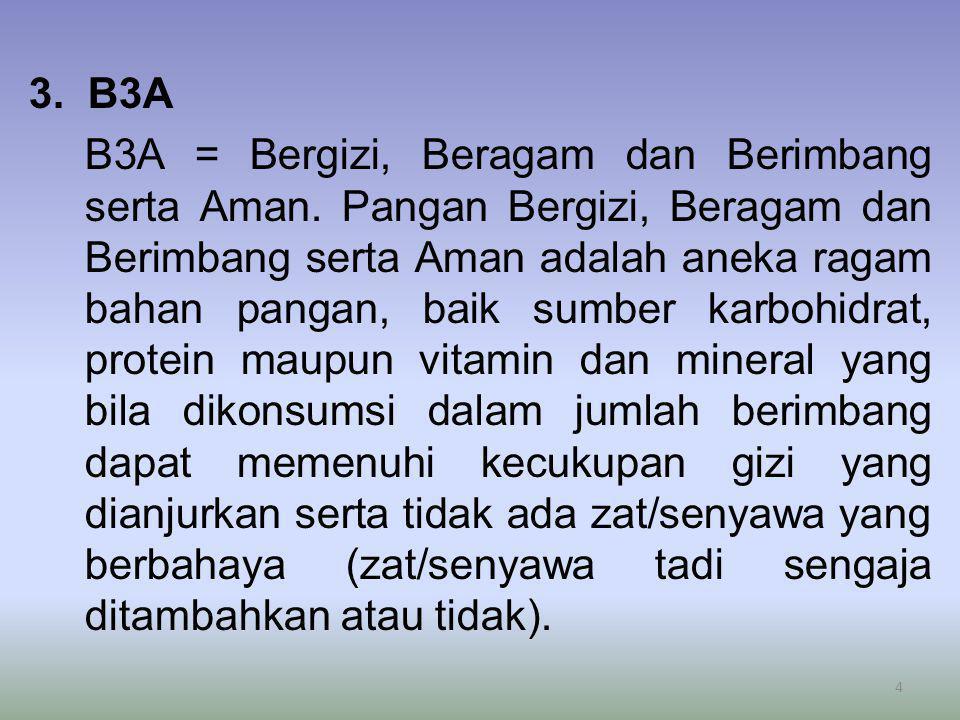 3. B3A B3A = Bergizi, Beragam dan Berimbang serta Aman. Pangan Bergizi, Beragam dan Berimbang serta Aman adalah aneka ragam bahan pangan, baik sumber