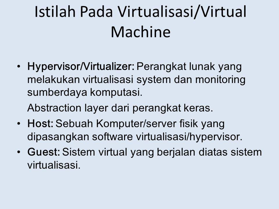 Istilah Pada Virtualisasi/Virtual Machine Hypervisor/Virtualizer: Perangkat lunak yang melakukan virtualisasi system dan monitoring sumberdaya komputasi.