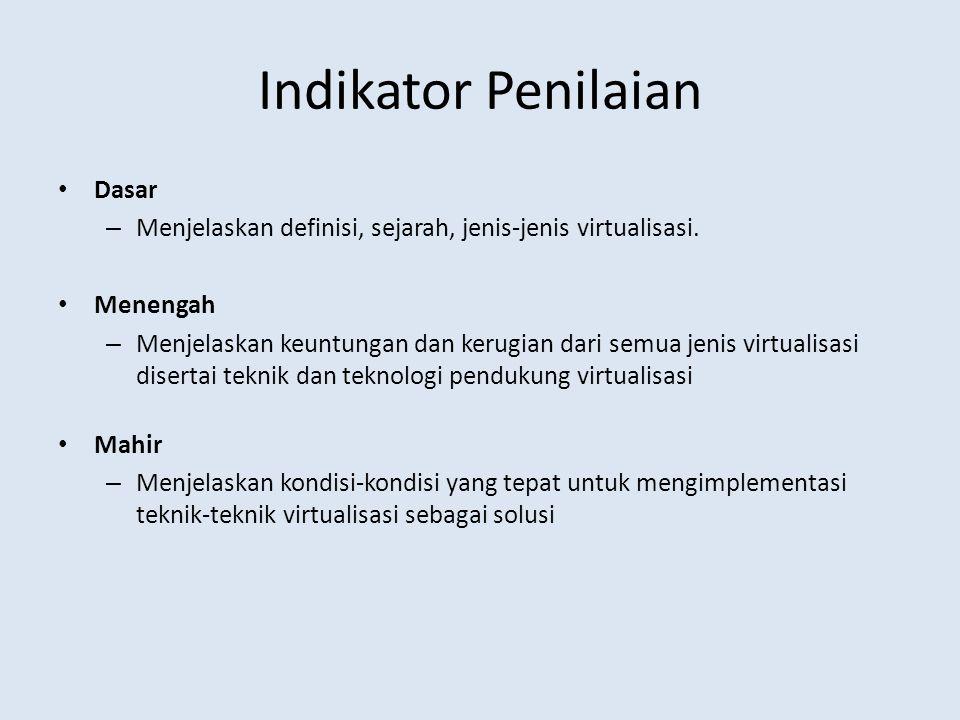 Indikator Penilaian Dasar – Menjelaskan definisi, sejarah, jenis-jenis virtualisasi.