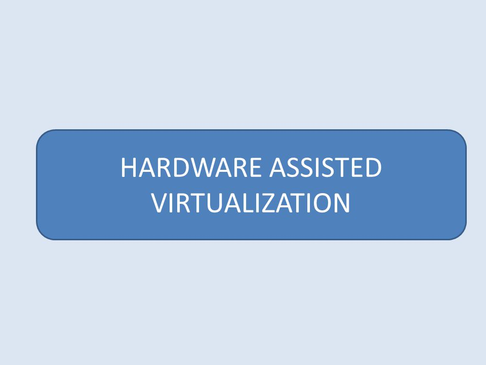 HARDWARE ASSISTED VIRTUALIZATION