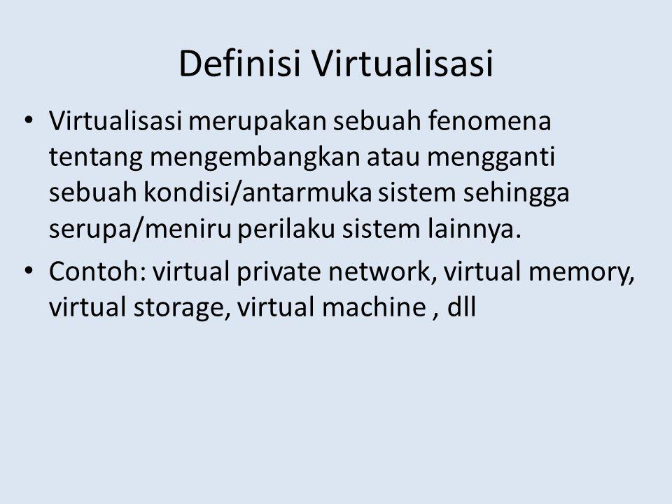 Definisi Virtualisasi Virtualisasi merupakan sebuah fenomena tentang mengembangkan atau mengganti sebuah kondisi/antarmuka sistem sehingga serupa/meniru perilaku sistem lainnya.