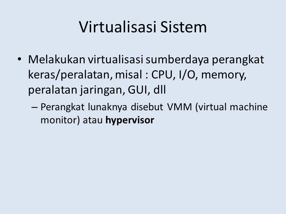 Virtualisasi Sistem Melakukan virtualisasi sumberdaya perangkat keras/peralatan, misal : CPU, I/O, memory, peralatan jaringan, GUI, dll – Perangkat lunaknya disebut VMM (virtual machine monitor) atau hypervisor