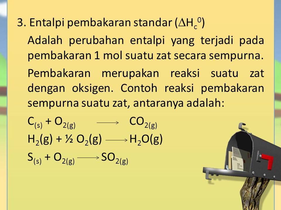 3. Entalpi pembakaran standar (  H c 0 ) Adalah perubahan entalpi yang terjadi pada pembakaran 1 mol suatu zat secara sempurna. Pembakaran merupakan