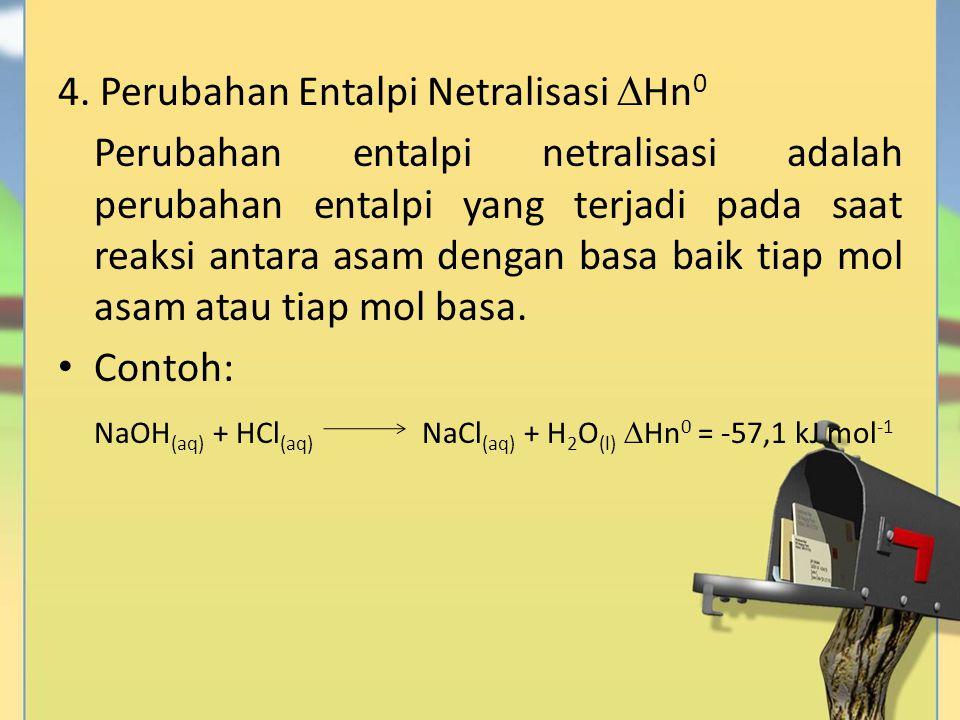 4. Perubahan Entalpi Netralisasi  Hn 0 Perubahan entalpi netralisasi adalah perubahan entalpi yang terjadi pada saat reaksi antara asam dengan basa b