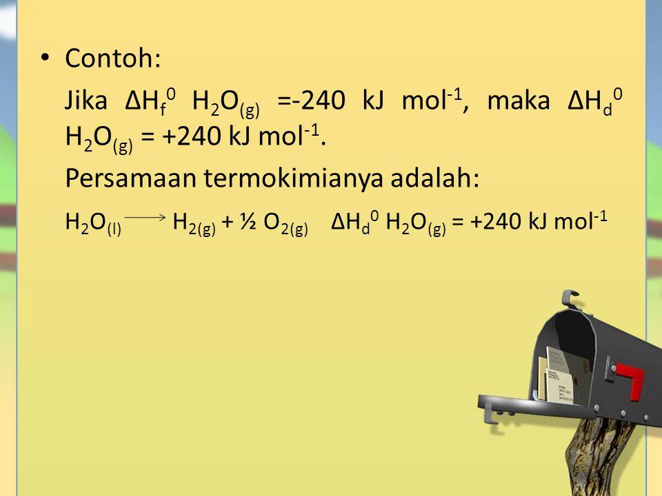 Contoh: Jika ∆H f 0 H 2 O (g) =-240 kJ mol -1, maka ∆H d 0 H 2 O (g) = +240 kJ mol -1. Persamaan termokimianya adalah: H 2 O (l) H 2(g) + ½ O 2(g) ∆H