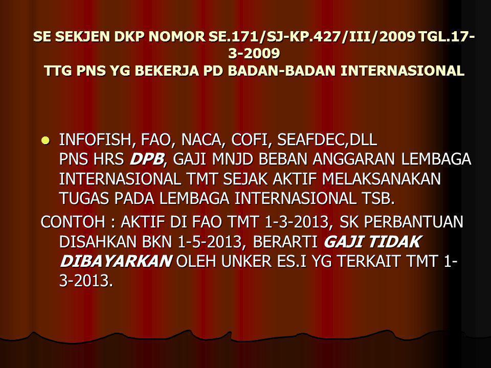 SE SEKJEN DKP NOMOR SE.171/SJ-KP.427/III/2009 TGL.17- 3-2009 TTG PNS YG BEKERJA PD BADAN-BADAN INTERNASIONAL INFOFISH, FAO, NACA, COFI, SEAFDEC,DLL PN