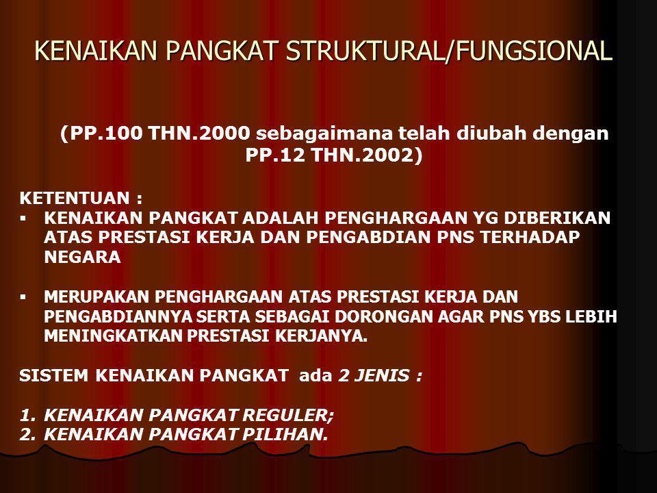 KENAIKAN PANGKAT STRUKTURAL/FUNGSIONAL (PP.100 THN.2000 sebagaimana telah diubah dengan PP.12 THN.2002) KETENTUAN :  KENAIKAN PANGKAT ADALAH PENGHARG