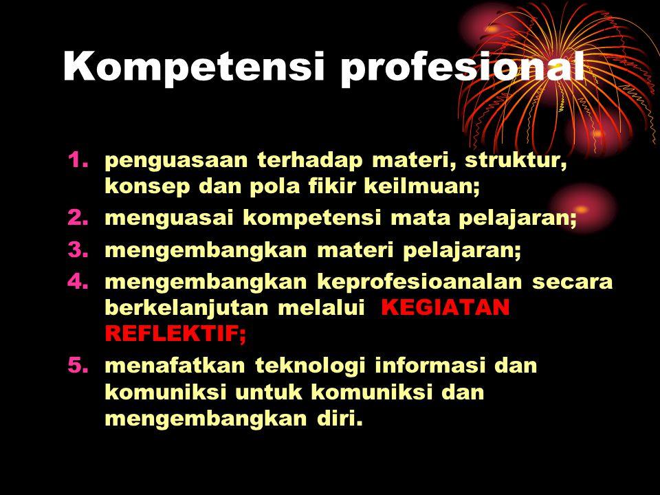 Kompetensi profesional 1.penguasaan terhadap materi, struktur, konsep dan pola fikir keilmuan; 2.menguasai kompetensi mata pelajaran; 3.mengembangkan materi pelajaran; 4.mengembangkan keprofesioanalan secara berkelanjutan melalui KEGIATAN REFLEKTIF; 5.menafatkan teknologi informasi dan komuniksi untuk komuniksi dan mengembangkan diri.