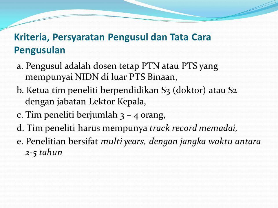 Kriteria, Persyaratan Pengusul dan Tata Cara Pengusulan a. Pengusul adalah dosen tetap PTN atau PTS yang mempunyai NIDN di luar PTS Binaan, b. Ketua t