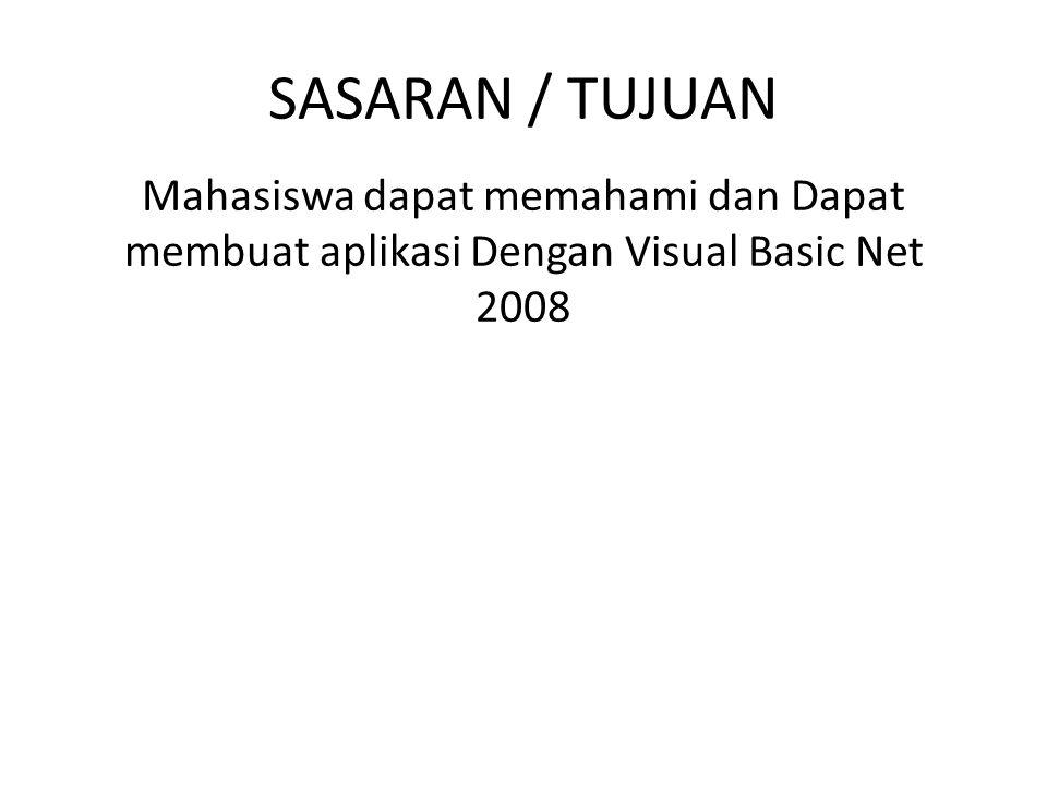 SASARAN / TUJUAN Mahasiswa dapat memahami dan Dapat membuat aplikasi Dengan Visual Basic Net 2008