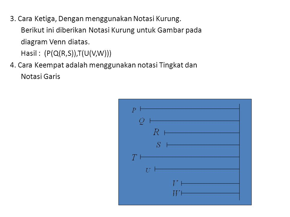 3. Cara Ketiga, Dengan menggunakan Notasi Kurung. Berikut ini diberikan Notasi Kurung untuk Gambar pada diagram Venn diatas. Hasil : (P(Q(R,S)),T(U(V,
