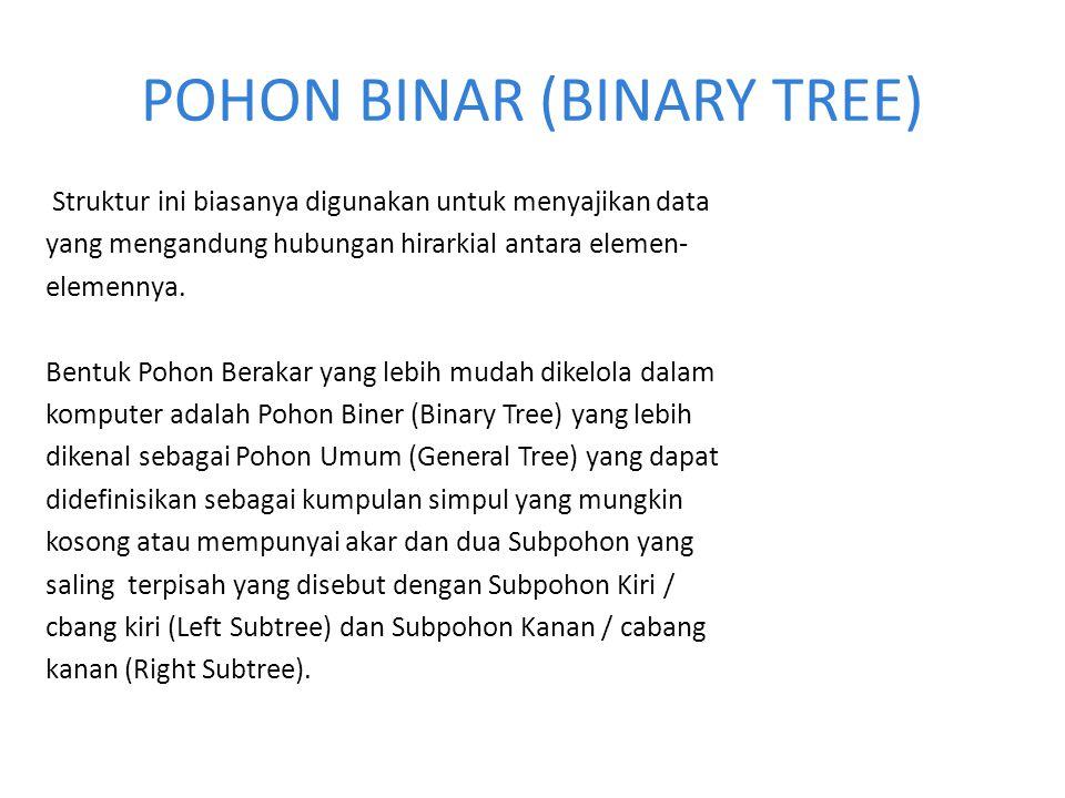POHON BINAR (BINARY TREE) Struktur ini biasanya digunakan untuk menyajikan data yang mengandung hubungan hirarkial antara elemen- elemennya. Bentuk Po