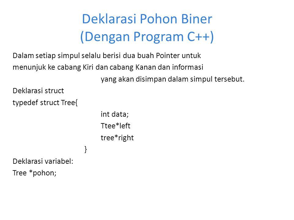 Deklarasi Pohon Biner (Dengan Program C++) Dalam setiap simpul selalu berisi dua buah Pointer untuk menunjuk ke cabang Kiri dan cabang Kanan dan infor
