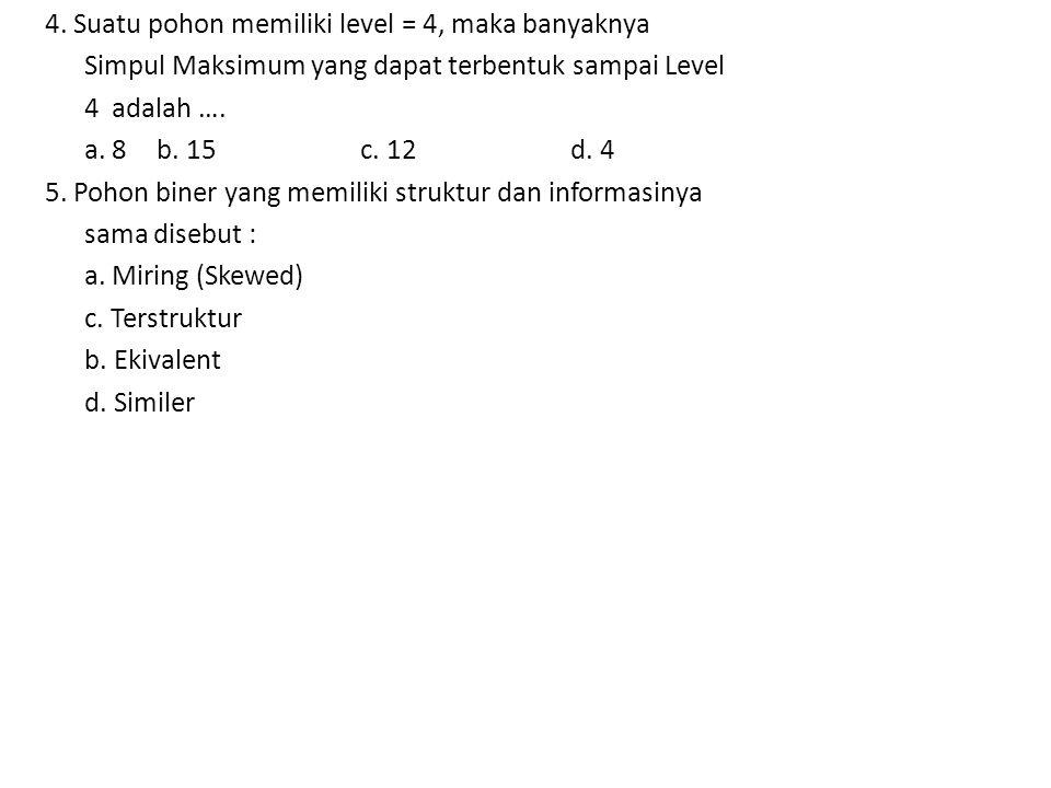 4. Suatu pohon memiliki level = 4, maka banyaknya Simpul Maksimum yang dapat terbentuk sampai Level 4 adalah …. a. 8 b. 15 c. 12 d. 4 5. Pohon biner y