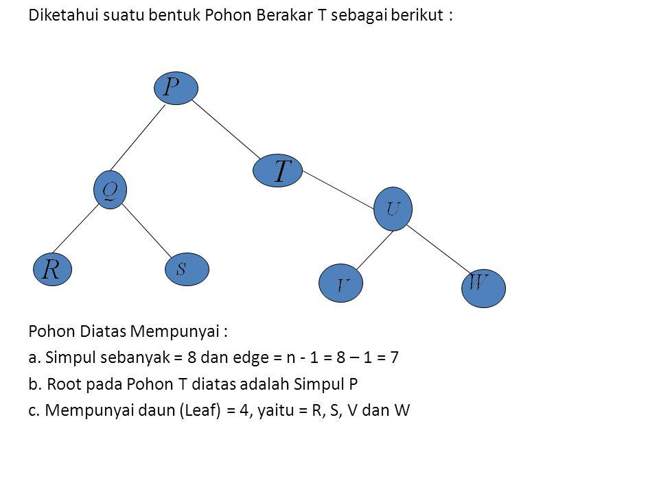 Diketahui suatu bentuk Pohon Berakar T sebagai berikut : Pohon Diatas Mempunyai : a. Simpul sebanyak = 8 dan edge = n - 1 = 8 – 1 = 7 b. Root pada Poh