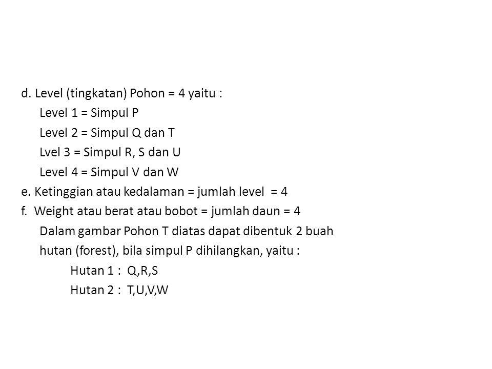 d. Level (tingkatan) Pohon = 4 yaitu : Level 1 = Simpul P Level 2 = Simpul Q dan T Lvel 3 = Simpul R, S dan U Level 4 = Simpul V dan W e. Ketinggian a