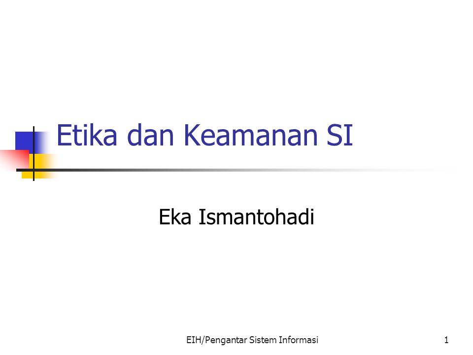 EIH/Pengantar Sistem Informasi1 Etika dan Keamanan SI Eka Ismantohadi