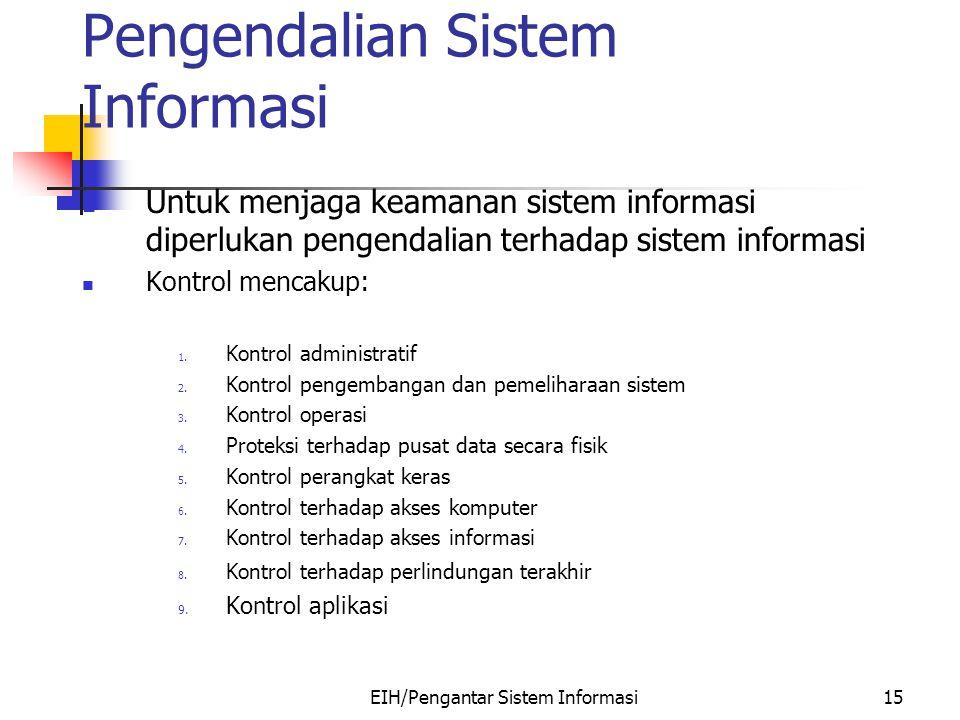 EIH/Pengantar Sistem Informasi15 Pengendalian Sistem Informasi Untuk menjaga keamanan sistem informasi diperlukan pengendalian terhadap sistem informasi Kontrol mencakup: 1.