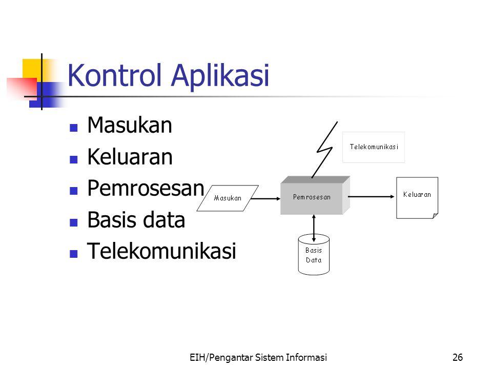 EIH/Pengantar Sistem Informasi26 Kontrol Aplikasi Masukan Keluaran Pemrosesan Basis data Telekomunikasi