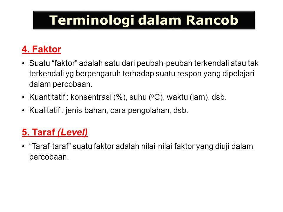 """Terminologi dalam Rancob 4. Faktor Suatu """"faktor"""" adalah satu dari peubah-peubah terkendali atau tak terkendali yg berpengaruh terhadap suatu respon y"""