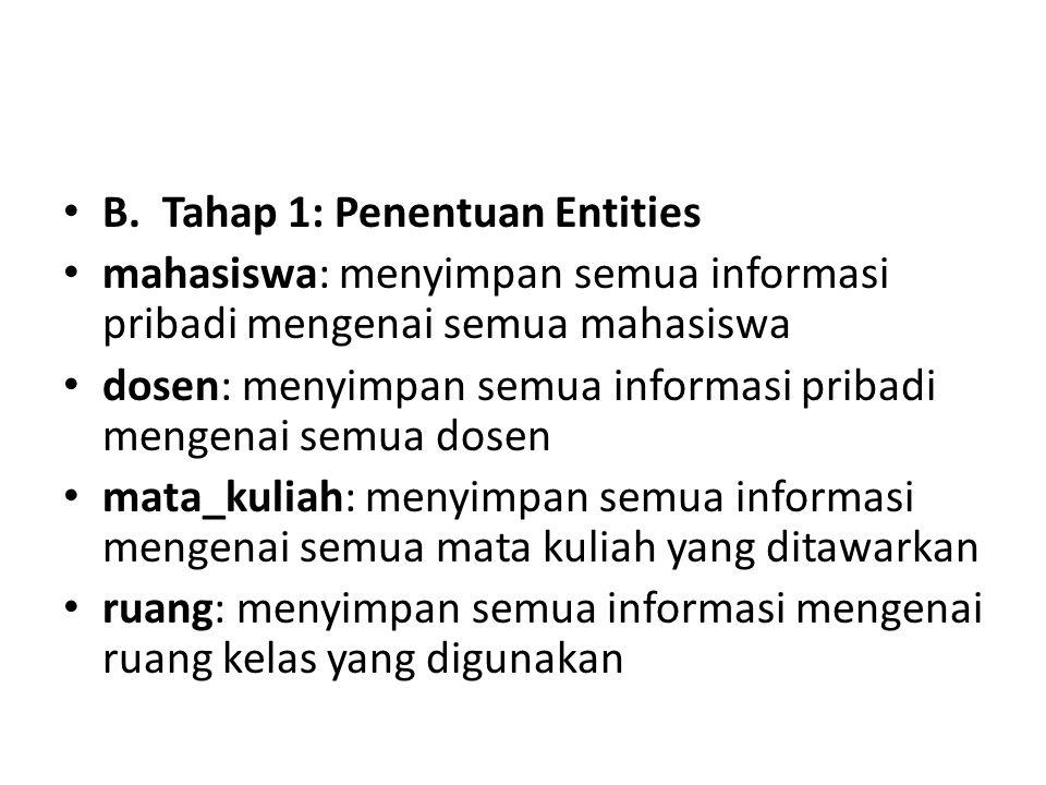 B. Tahap 1: Penentuan Entities mahasiswa: menyimpan semua informasi pribadi mengenai semua mahasiswa dosen: menyimpan semua informasi pribadi mengenai