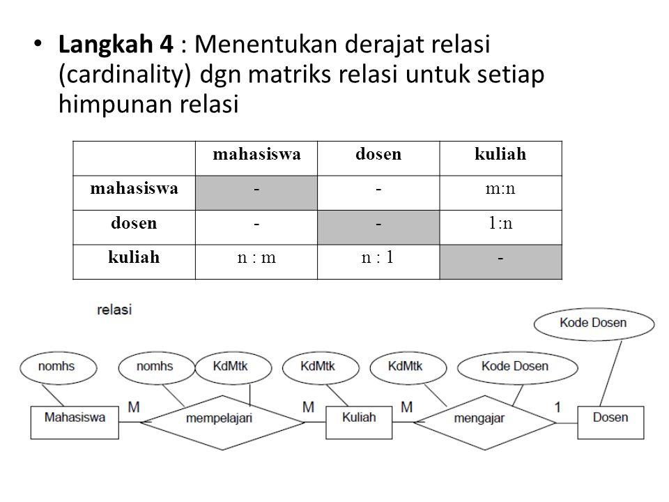 Langkah 4 : Menentukan derajat relasi (cardinality) dgn matriks relasi untuk setiap himpunan relasi mahasiswadosenkuliah mahasiswa--m:n dosen--1:n kul