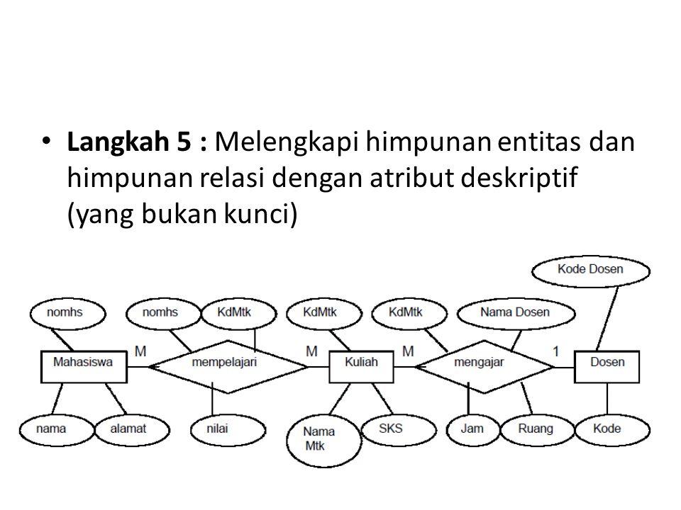 Langkah 5 : Melengkapi himpunan entitas dan himpunan relasi dengan atribut deskriptif (yang bukan kunci)