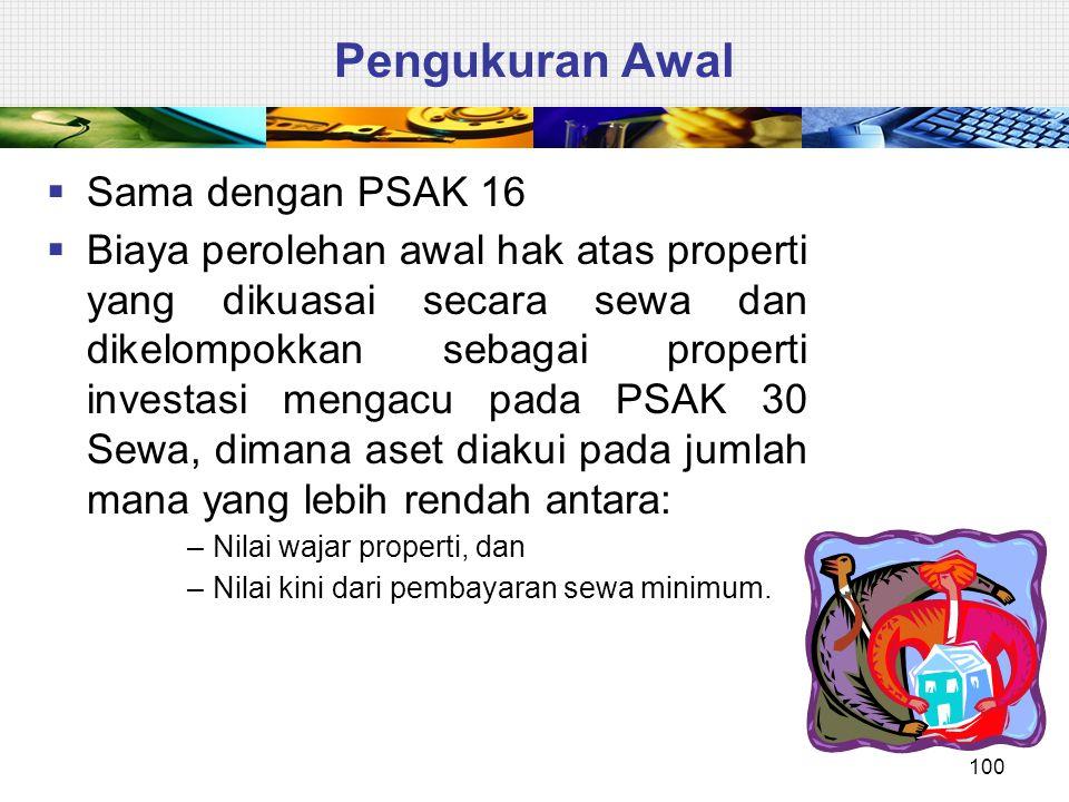 Pengukuran Awal  Sama dengan PSAK 16  Biaya perolehan awal hak atas properti yang dikuasai secara sewa dan dikelompokkan sebagai properti investasi