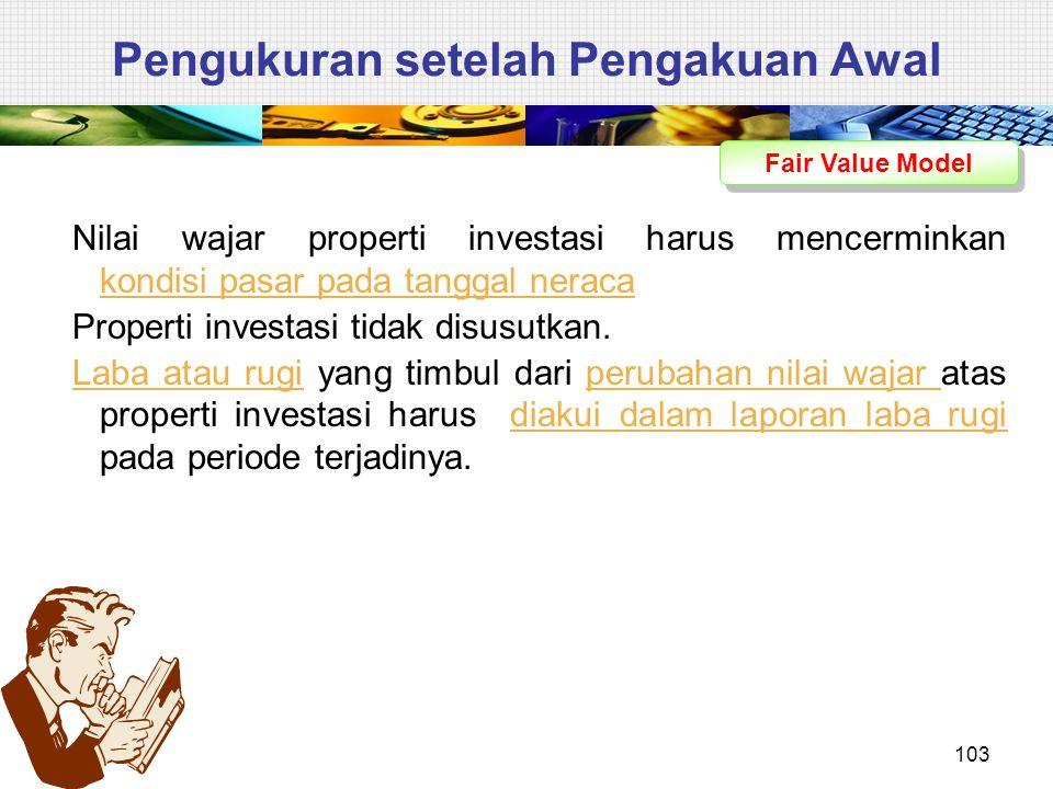 Pengukuran setelah Pengakuan Awal Fair Value Model Nilai wajar properti investasi harus mencerminkan kondisi pasar pada tanggal neraca Properti invest