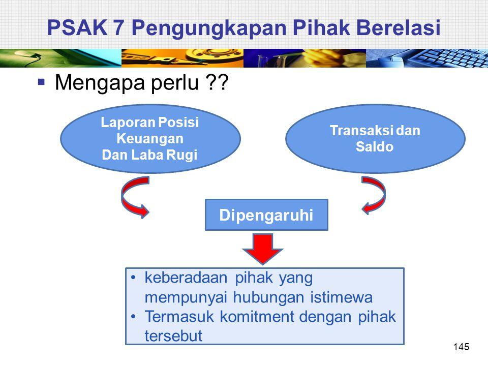 PSAK 7 Pengungkapan Pihak Berelasi  Mengapa perlu ?? 145 Laporan Posisi Keuangan Dan Laba Rugi Transaksi dan Saldo Dipengaruhi keberadaan pihak yang