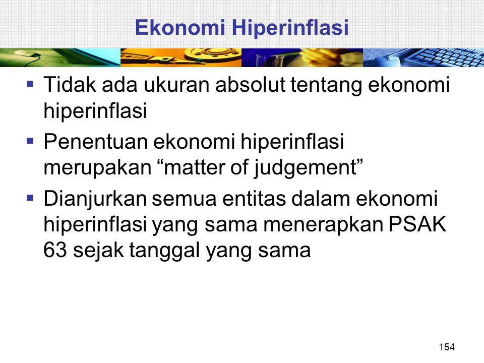 """Ekonomi Hiperinflasi  Tidak ada ukuran absolut tentang ekonomi hiperinflasi  Penentuan ekonomi hiperinflasi merupakan """"matter of judgement""""  Dianju"""