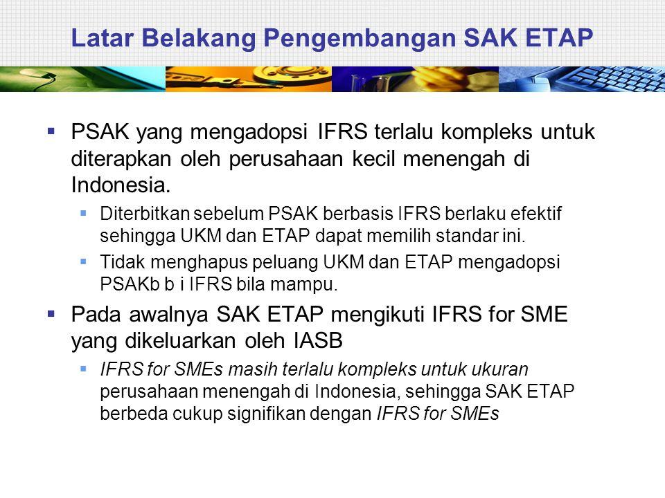 Latar Belakang Pengembangan SAK ETAP  PSAK yang mengadopsi IFRS terlalu kompleks untuk diterapkan oleh perusahaan kecil menengah di Indonesia.  Dite
