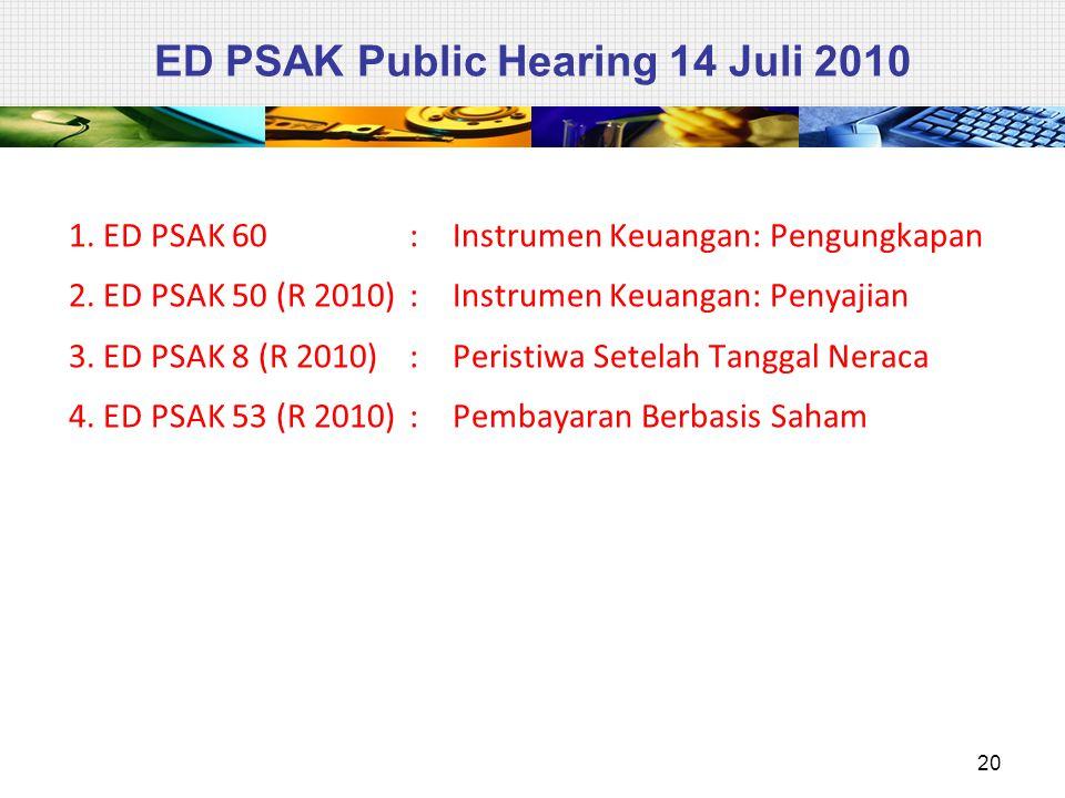 ED PSAK Public Hearing 14 Juli 2010 1. ED PSAK 60 : Instrumen Keuangan: Pengungkapan 2. ED PSAK 50 (R 2010): Instrumen Keuangan: Penyajian 3. ED PSAK