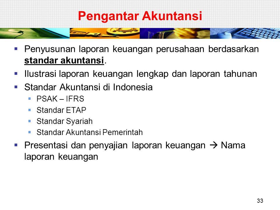 Pengantar Akuntansi  Penyusunan laporan keuangan perusahaan berdasarkan standar akuntansi.  Ilustrasi laporan keuangan lengkap dan laporan tahunan 