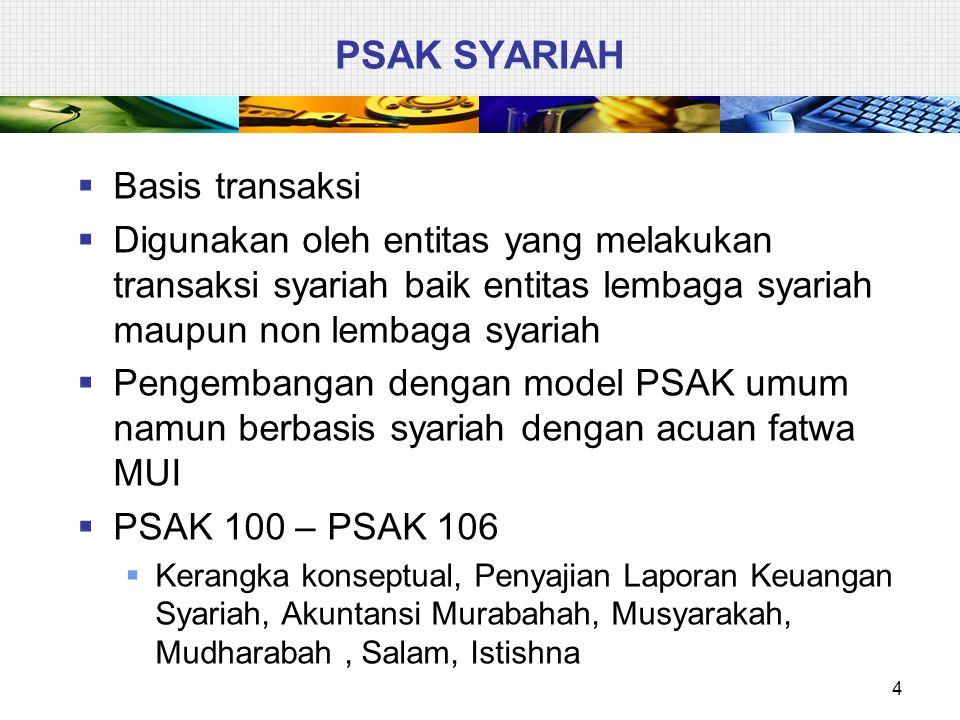 PSAK SYARIAH  Basis transaksi  Digunakan oleh entitas yang melakukan transaksi syariah baik entitas lembaga syariah maupun non lembaga syariah  Pen