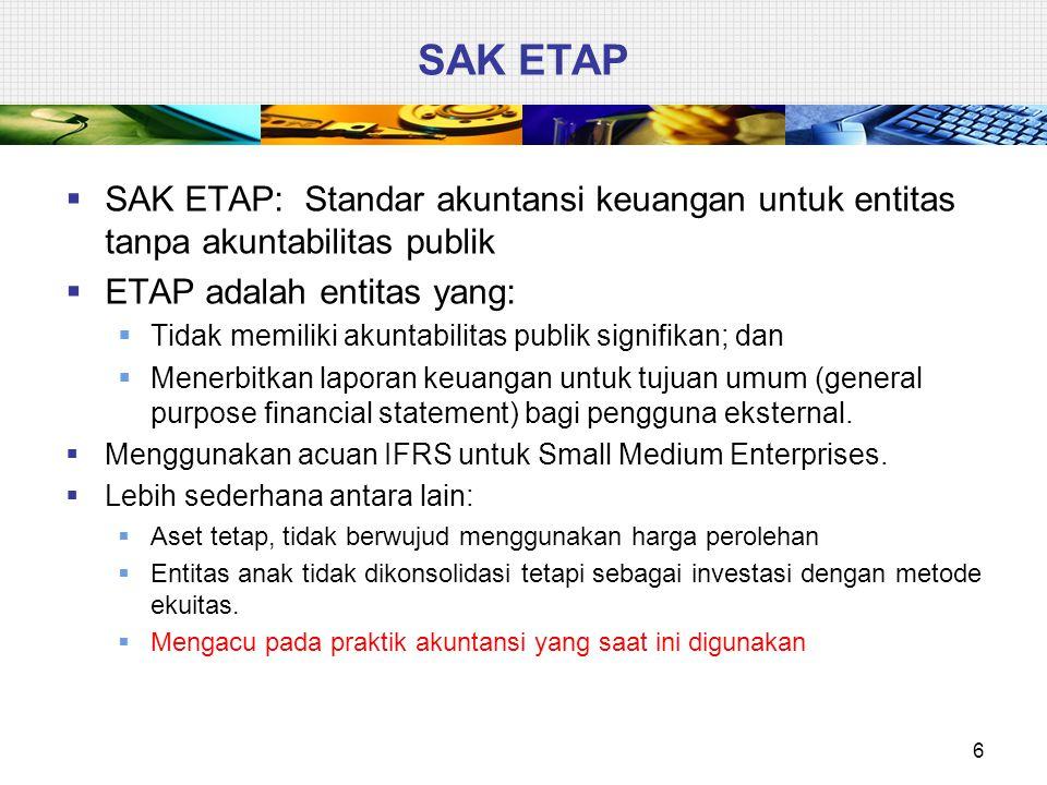 SAK ETAP  SAK ETAP: Standar akuntansi keuangan untuk entitas tanpa akuntabilitas publik  ETAP adalah entitas yang:  Tidak memiliki akuntabilitas pu
