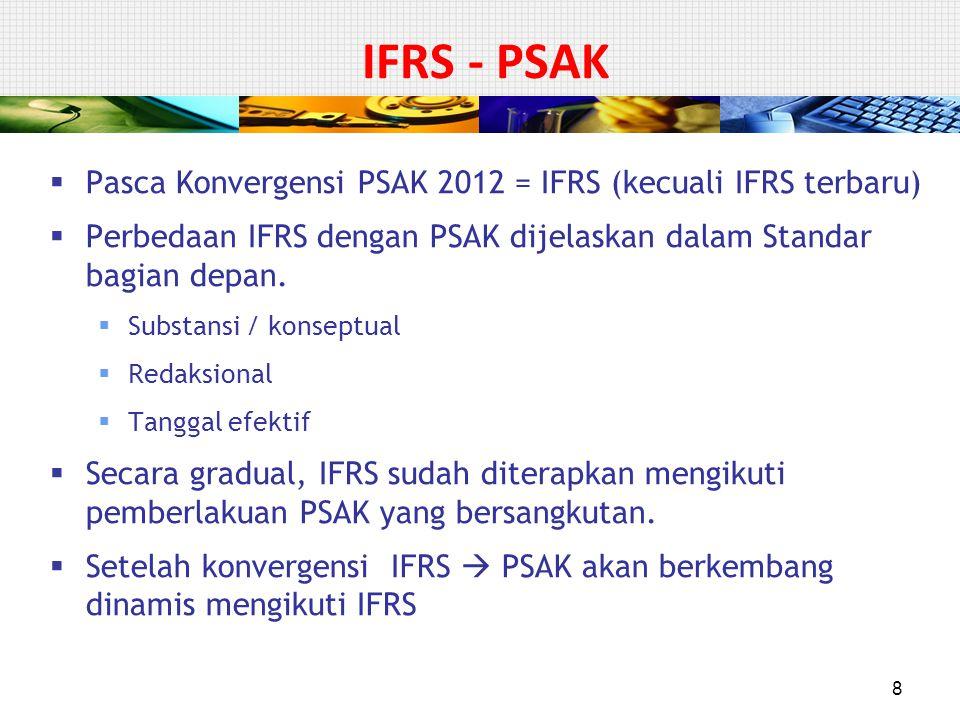 Pasca Konvergensi PSAK 2012 = IFRS (kecuali IFRS terbaru)  Perbedaan IFRS dengan PSAK dijelaskan dalam Standar bagian depan.  Substansi / konseptu