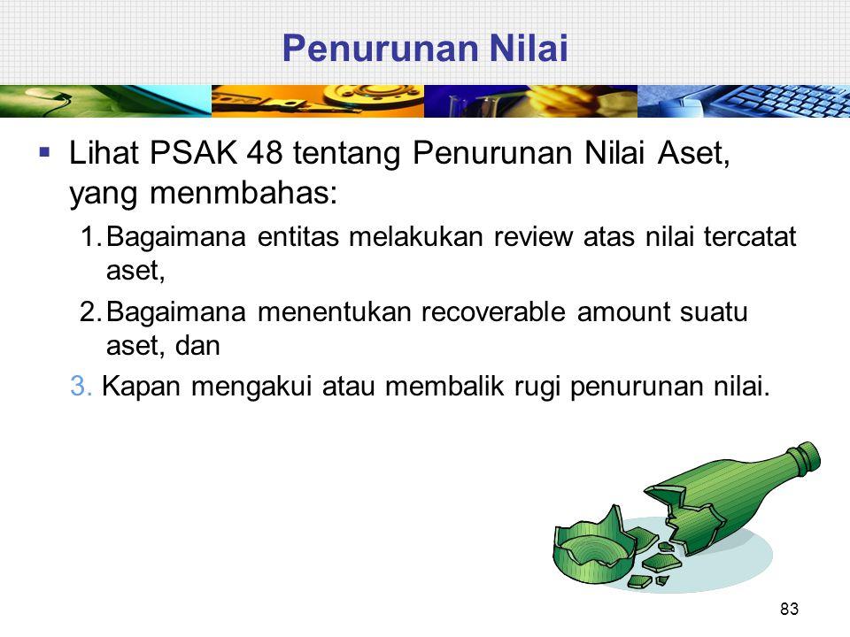 Penurunan Nilai  Lihat PSAK 48 tentang Penurunan Nilai Aset, yang menmbahas: 1.Bagaimana entitas melakukan review atas nilai tercatat aset, 2.Bagaima
