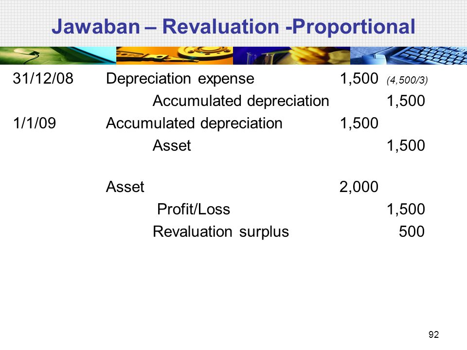 Jawaban – Revaluation -Proportional 31/12/08Depreciation expense1,500 (4,500/3) Accumulated depreciation1,500 1/1/09Accumulated depreciation1,500 Asset1,500 Asset2,000 Profit/Loss 1,500 Revaluation surplus 500 92