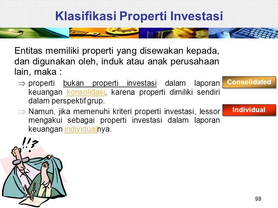 Klasifikasi Properti Investasi Entitas memiliki properti yang disewakan kepada, dan digunakan oleh, induk atau anak perusahaan lain, maka :  properti