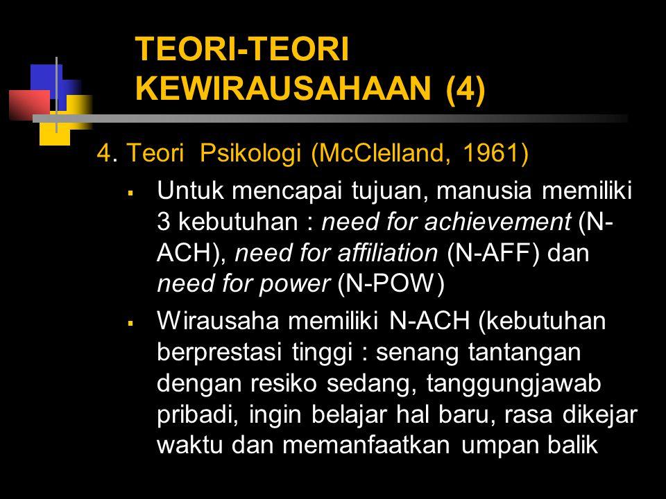 TEORI-TEORI KEWIRAUSAHAAN (4) 4. Teori Psikologi (McClelland, 1961)  Untuk mencapai tujuan, manusia memiliki 3 kebutuhan : need for achievement (N- A