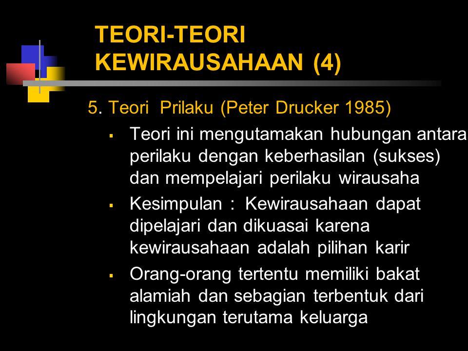 TEORI-TEORI KEWIRAUSAHAAN (4) 5. Teori Prilaku (Peter Drucker 1985)  Teori ini mengutamakan hubungan antara perilaku dengan keberhasilan (sukses) dan