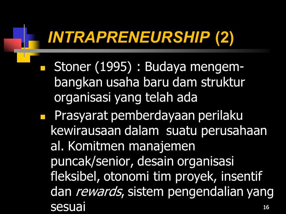INTRAPRENEURSHIP (2) Stoner (1995) : Budaya mengem- bangkan usaha baru dam struktur organisasi yang telah ada Prasyarat pemberdayaan perilaku kewiraus