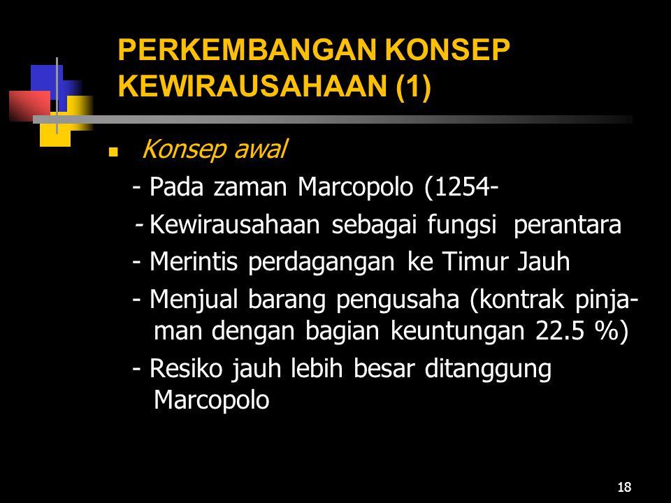 PERKEMBANGAN KONSEP KEWIRAUSAHAAN (1) Konsep awal - Pada zaman Marcopolo (1254- - Kewirausahaan sebagai fungsi perantara - Merintis perdagangan ke Tim