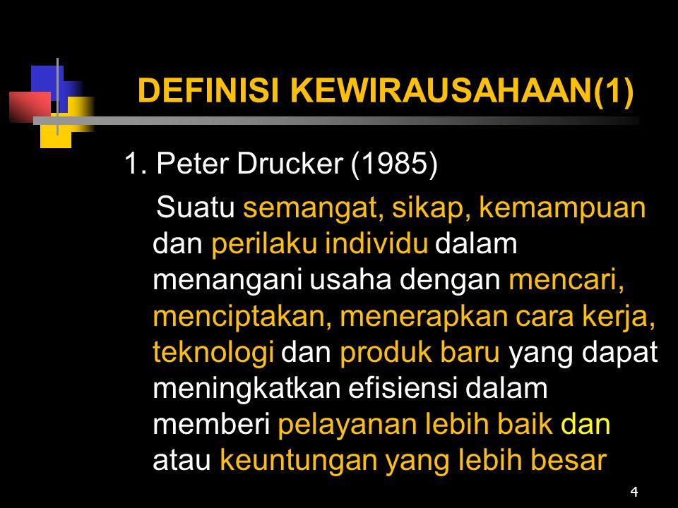 DEFINISI KEWIRAUSAHAAN(1) 1. Peter Drucker (1985) Suatu semangat, sikap, kemampuan dan perilaku individu dalam menangani usaha dengan mencari, mencipt